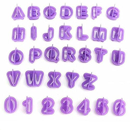 Uryoung Kuchenform, 40 Stück, Alphabet, Buchstaben, Zahlen, Fondant, Schokolade, Kekse, Backform, wiederverwendbar, 3D-Dekorationswerkzeug