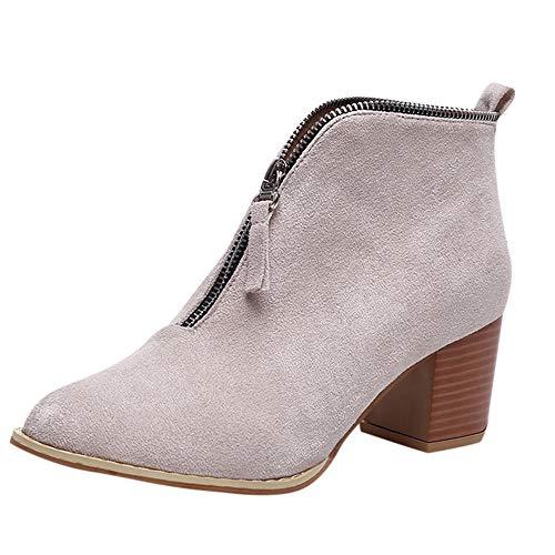 IRT Frauen Stiefeletten Schuhe Kurze Stiefel Mode Ankle Schuhe Solide Leopard Reißverschluss Bootie ()