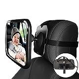 forepin Rücksitzspiegel fürs Baby, Bruchsicherer Auto-Rückspiegel für Babyschale,Universale Form,360° schwenkbar, Größe 245 x 1175 x 85 mm (Schwarz)