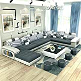 QUALITY ASSURE FURNITURE Roland 9-Seater Fabric Sofa Set with 4 Puffy (White and Grey, Standard Size)
