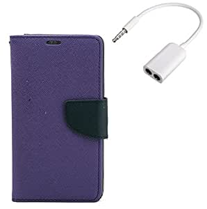 YGS Premium Diary Wallet Mobile Case Cover For Lenovo Vibe K4 Note-Purple with Audio Splitter