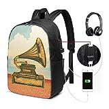 Sac à Dos Homme Femme Ordinateur Portable 17' avec Port De USB pour Voyage Affaires École Gravure du Ciel du désert du Gramophone