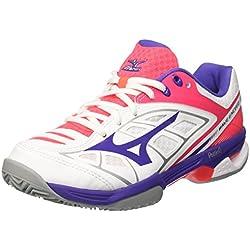 Mizuno Wave Exceed CC (W), Zapatillas de Tenis para Mujer, (White/Liberty/DivaPink 67), 36.5 EU