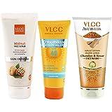 VLCC Sun Screen Gel and Scrub and Kesar Chandan Face Wash Combo
