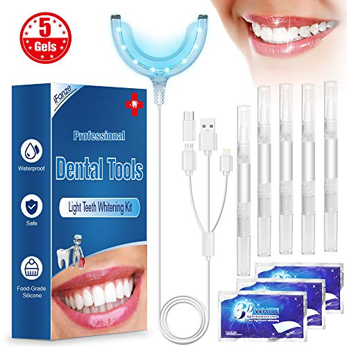 Kit Blanchiment Dentaire LED Lampe Dentaire, 5* Gel de blanchiment des dents, iFanze Gel Blanchiment Dentaire Professionnel Réutilisable Kit Dents Soins Dentaires à Domicile