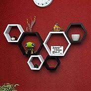 Aparios Hexagonal Shape Wall Shelves (Black & Wh