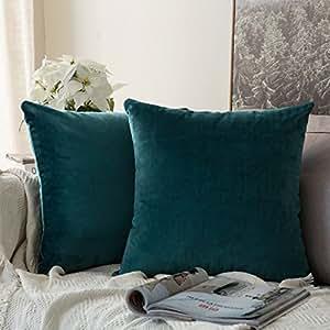 MIULEE Packung von 2, Purer Weicher Dekorativ Sofa Kissenbezug Kissenhülle Set Kissen Fall für Sofa Schlafzimmer Auto 18 * 18 Zoll 45 * 45 cm