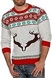Weihnachtspullover Rentier Ugly Christmas Sweater Pullover Weihnachten, Weiß/Rot/Grün - M