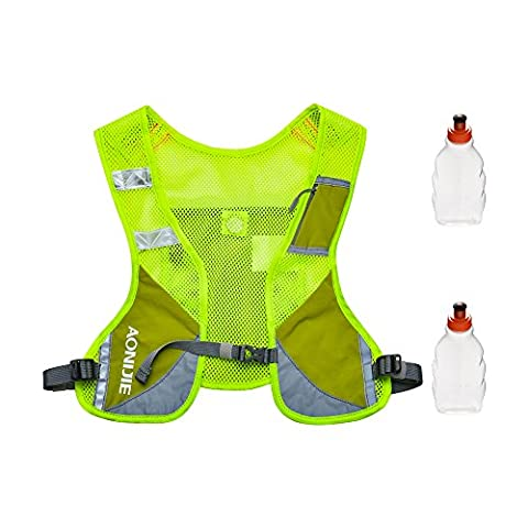 Running Hydration Vest, Hydration Backpack with Two 8.5oz/250ml Water Bottles and Reflective Strips for Security Warning, Perfect for Day and Night Running, Jogging, Cycling and Marathoner Race, Green