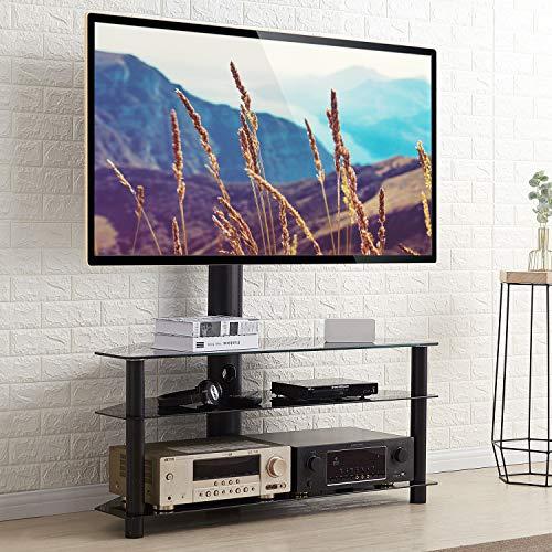 RFIVER Meuble TV avec Support Pivotant Hauteur Réglable pour TVs et Ecrans LCD LED de 32 à 65 Pouces 3 Étagères TW1002