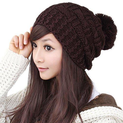 Dame belle chaude hat/chapeau en laine coréen/Oreille boule tricoter chapeau E