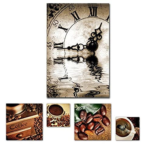 Eco Light Art Wand Leinwand Paket faszinierenden Abstrakt Schwarz und Weiß Uhr 60x 90cm für Home Décor und schöne Küche Kaffee Collage Set von 4Artwork modernen gerahmt
