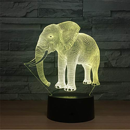 3d Led Night Light Ivory Elephant Puzzle Action Figure 7 Farben Berühren Optische Illusion Tabelle Lampe Home Decoration Model Ivory Night Light