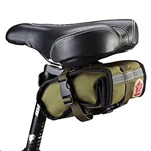 DCCN Bicycle Saddle Mountain Bike Folding Bike Bag Cycling Seat Bag Pouch Bike Water-resistant Trunk Rack Bag Bycicle Carrier Bag-Army Green