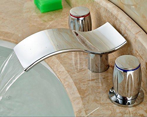 Tourmeler Badezimmer Wasserfall Waschbecken Wasserhahn weit verbreiteten Eitelkeit Mixer zwei Griffe Chrom Tippen - 2 Waschbecken Badezimmer-eitelkeit
