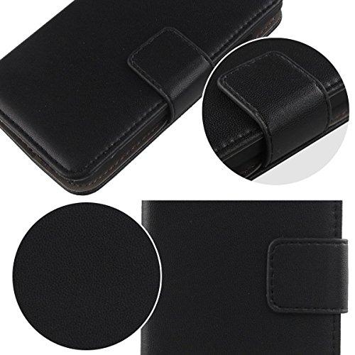 Gukas Design Veritable Cuir Etui Pour Apple iPhone 4 4G 4S Housse Coque Premium Case Cover Flip Protecteur Portefeuille Genuine Leather Wallet (Rose) Noir