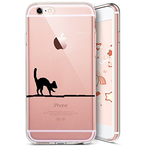 iPhone 6S Coque,iPhone 6 Coque,Etsue Coque en Silicone Étui Housse de Protection TPU [ Liquid Crystal ] Chat Motif Transparent Clear View Chat Marrant Case Gel Souple Coque Ultra Mince Léger Flexible  Chat 4#