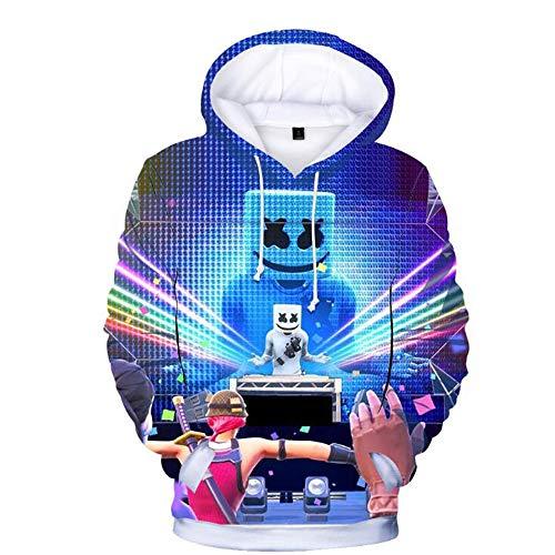 C&NN Kleinkind-Kind-Jungen-3D mit Kapuze DJ Hoodie Pullover Tops, Känguru-Tasche lose Baseball-Trikot,160cm