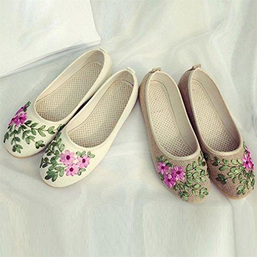 Vovotrade Frauen Blumen flache Baumwollgewebe Casual Schuhe Bequeme runde flache Schuhe Gelb