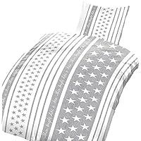 2 teilig Bettwäsche 135x200 cm Sterne grau weiß stars /& stripes Baumwolle