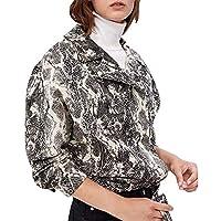Yvelands Outwear para Mujer Abrigo de Invierno Estampado de Serpiente Béisbol Blusa Cremallera Solapa Chaqueta Blusa Superior