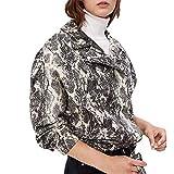 NPRADLA 2018 Frauen übergangsmantel Mantel Winter Elegant Lang Damen Jacke Outwear Schlangen Druck Baseball Bluse Reißverschluss Revers(Weiß,L/Gr.50)