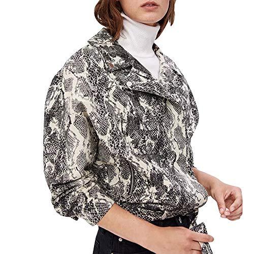 Frauen-Revers-Baseball-Jacke Schlangenprint Bluse Jacke Damen Zipper Coats