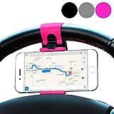 MPG Lenkrad Handyhalterung, Auto KFZ Handy Halterung, Smartphone Lenkrad Halter, Pink