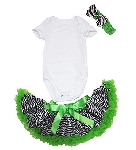 St Patrick Day Dress White Cotton Jumpsuit Zebra Green Skirt Baby Set Nb-18m (12-18 Monat) (Baby St Patricks Day Outfit)