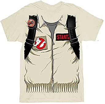 Ghostbusters Executioner Stantz Full Costume with Backpack Print Sand Adult T-shirt Tee (Adult Small)