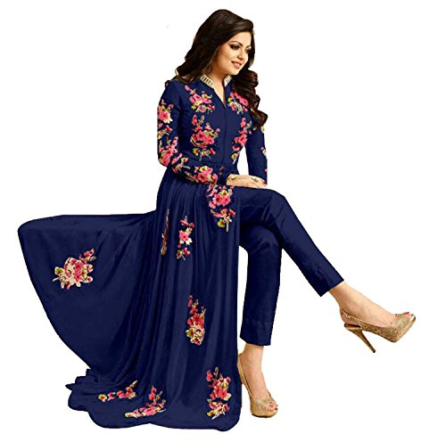 Justkartit Women's Stylish Georgette Anarkali Style Floral Embroidery Suits (Eid Collection)