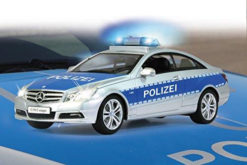 Jamara 410023 - Mercedes E350 Coupe 1:16 Polizei 2,4GHz - deutsche Polizeisirene, Alarmanlage, Startton, Beschleunigungston, Bremston, Hupe, Zusperrton, Signalleuchte, Blinker, 4 Geschwindigkeiten - 3