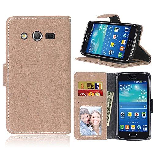 Galaxy Core 4G G386F Hülle, Samsung Galaxy Core 4G Hülle, Samsung Galaxy Core 4G Ledertasche, Anlike Samsung Galaxy Core 4G SM-G386F (4,5 Zoll) Schutzhülle Flip Hülle Wallet Case Tasche Cover Handy Zubehör Lederhülle Handyhülle [Klassische Normallackserie] Bookstyle mit Standfunktion Kredit Kartenfach – Khaki