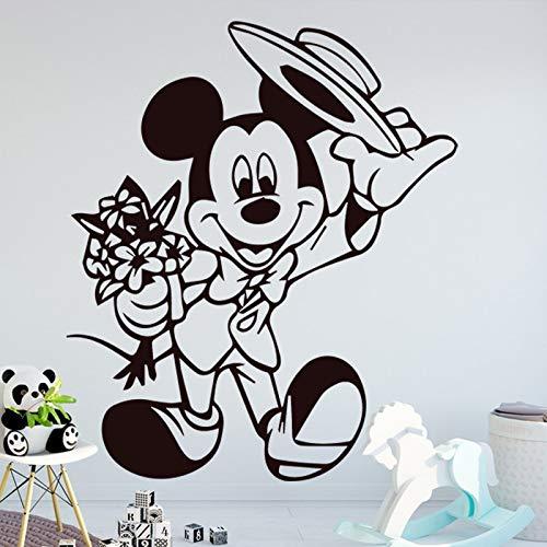 Lustige Maus Muster Wandaufkleber Steuern Dekor für Kinderzimmer Wohnzimmer Abnehmbare Wandtattoos Mode Wandbild Kreative Stickers-66x60cm