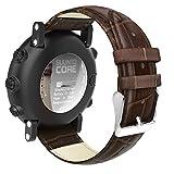 MoKo Armband für Suunto Core - Echt Leder Uhrenarmband Lederarmband Erstatzband Uhr Band Watchband mit Metallschließe für Suunto Core Samrtwatch, Braun