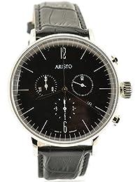 Aristo 4H151 - Reloj , correa de cuero color negro