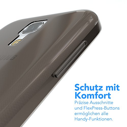 Samsung Galaxy S4 Mini Hülle - EAZY CASE Ultra Slim Cover TPU Handyhülle Matt - dünne Schutzhülle aus Silikon in Grün Clear Schwarz / Anthrazit