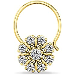 Silver Dew 925 Pure Silver CZ Diamond Yellow Gold Plated Flower Nose Ring For Women's & Girls