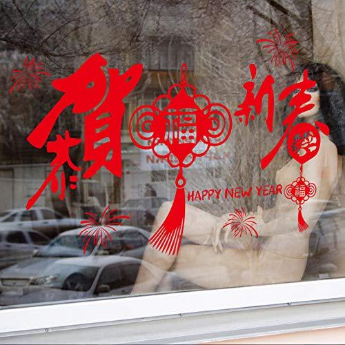 Wandbild ZOZOSO Neues Jahr Wandaufkleber Glückwünsche Chinesisches Neujahr Chinese Lunar New Year Aufkleber Wohnzimmer Wand Glas Dekorative Aufkleber