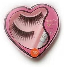 Glamzone False Eyelashes for Pretty Eye Makeup with Glue (Assorted Colour, 1234564)