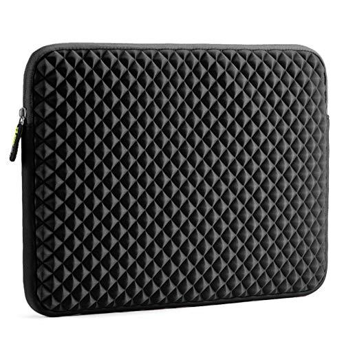 Evecase Laptophülle, Universal Neopren Anti-Schock Laptop Schutzhülle mit Rautenmuster/Diamant-Muster Schaumpolsterung für 15.6 Zoll Laptops Tablets Macbooks Notebooks Chromebook - Schwarz Neopren-laptop -