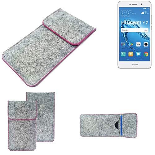K-S-Trade® Filz Schutz Hülle Für -Huawei Y7 Dual SIM- Schutzhülle Filztasche Pouch Tasche Case Sleeve Handyhülle Filzhülle Hellgrau Pinker Rand