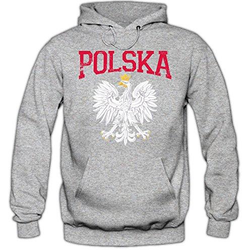 Shirt Happenz Polen Wappen Hoodie Polen Republik Polen Warschau Herren-Kapuzenpullover, Farbe:Graumeliert (Greymelange F421);Größe:S
