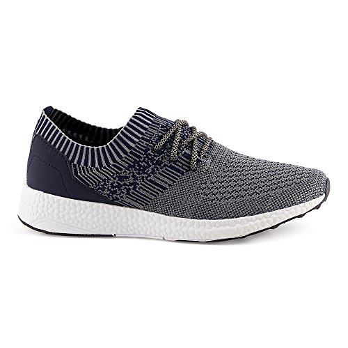 FiveSix Herren Damen Sneaker Sportschuhe Laufschuhe Freizeitschuhe Textilschuhe Schnürschuhe Low-Top Unisex Schuhe Dunkelblau/Grau-M
