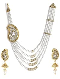Jewels Gold American Diamond Antique Designer White Pearl Necklace Set For Women