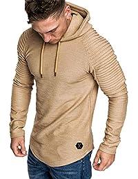 Yvelands con Capucha Camiseta de Manga Larga para Hombre Color sólido a  Rayas Plisado Slim fit 62df1da9ef07