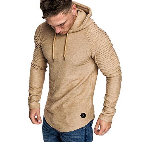 VECDY Herren Bluse,Räumungsverkauf- Herren Mode Herren Herbst Winter Falten Slim Fit Raglan Langarm Hoodie Top Bluse Kaputzenpulli(Khaki,52)