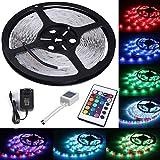 ALED LIGHT Tira de Luz LED RGB 5M(16.4 ft) 3528 SMD 300 LEDs + Adaptador de Alimentación de 12V 2A + 24 Mando a Distancia Clave + Receptor + Descripción del Producto