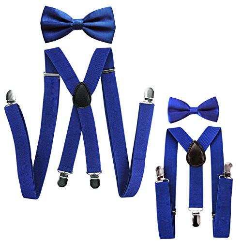 tnerlook Hosenträger mit Fliege Set für Herren-Damen-Kinder (Blau (Herren 2,5cm + Kinder Hosenträger Breit 2,5cm)) (Hosenträger Hochzeit)