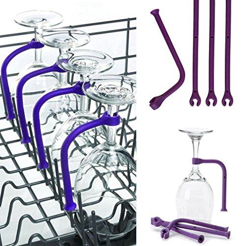 Clode 1 / 2Pcs Adjust Silikon Weinglas Geschirrspüler Becherhalter Safer Stemware Saver Tools (4...